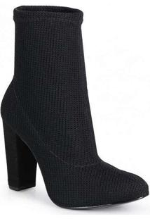 Ankle Boots Feminina Lara Knit Básica Preto