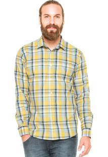 Camisa Colcci Xadrez Azul/Amarelo