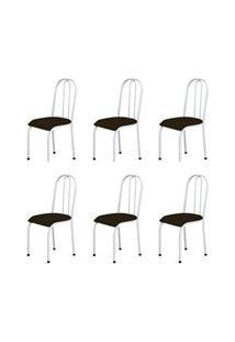 Kit 6 Cadeiras Baixas 0.104 Anatômica Branco/Marrom Escuro - Marcheli