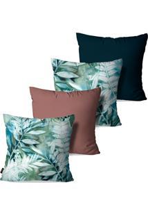 Kit Com 4 Capas Para Almofadas Pump Up Decorativas Estilo Desenho Folhas E Flores 45X45Cm
