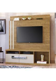 Estante Home Para Tv 2 Portas 2 Prateleira 1 Nicho Mavaular Damasco/Off White