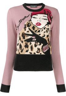 Dolce & Gabbana Blusa Decote Careca Com Estampa - Rosa