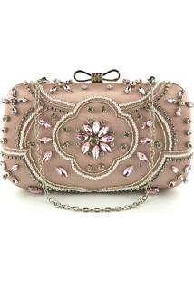 Bolsa Clutch Liage Bordada Cetim Metal Rosa - Kanui