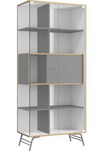 Cristaleira 2 Portas De Vidro - Po601 Pop - Kappesberg Branco/Cinza