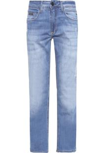Calça Masculina Jeans Five Pockets Slim Straight - Azul