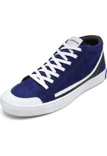 Tênis Couro Calvin Klein Recortes Azul