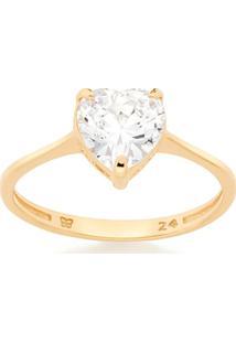 Anel Solitário Skinny Ring Zircônia Coração Rommanel - Feminino-Dourado