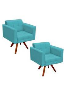 Kit 2 Poltronas Decorativas Base Madeira Giratória Ana Suede Azul Tiffany - Ibiza