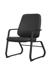 Cadeira Maxxer Diretor Assento Courino Base Fixa Preta - 54853 Preto