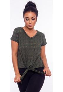 Blusa Aninha Bela Lese Amarração Gola V Feminina - Feminino-Verde