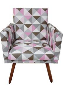 Poltrona Decorativa Nina Suede Triângulo Rosa - Ds Móveis - Kanui