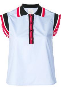 d3ada92dc1 Pinko Ruffled Contrast Sleeves Polo Shirt - Azul
