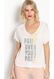 Camiseta Com Linho ''Paint''- Off White & Preta- Forforum