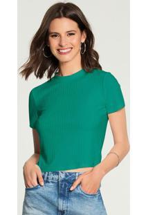 Blusa Canelada Básica Verde
