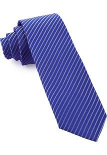 Gravata Slim Azul Listras - Spc76