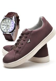 Sapatênis Sapato Casual Com Relógio Juilli Com Cadarço Masculino 171L Café Marrom