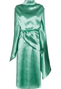 Christopher Kane Vestido De Cetim Com Amarração Posterior - Verde
