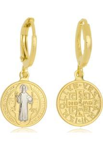 Brinco Argolinha Com Medalha De São Bento Folheado A Ouro 18K - Kanui
