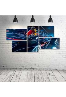 Quadro Decorativo - Formula-1-Red-Bull-Rb4-Race-Car - Composto De 5 Quadros - Multicolorido - Dafiti