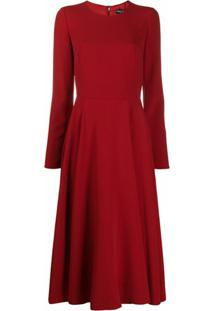 Dolce & Gabbana Vestido Mangas Longas De Crepe - Vermelho