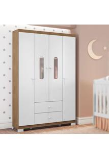 Guarda Roupa Infantil Sonhos 4 Portas Branco/Almendra Móveis Estrela