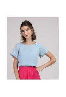 Blusa Jeans Feminina Manga Curta Decote Redondo Azul Claro
