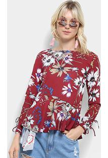 adf06fb149 Blusa Top Moda Bata Floral Manga Longa Feminina - Feminino-Vinho