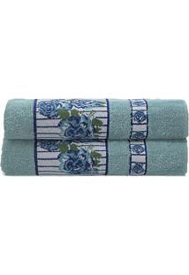 Toalha De Rosto Claris- Azul Claro & Branca- 45X70Cmcamesa