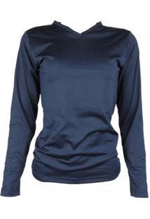 Camisa Térmica Feminina Segunda Pele Gola V Thermo Premium - Feminino-Azul+Marinho