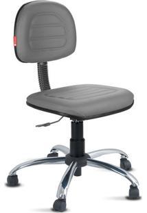 Cadeira Secretária Costura Cromada Courvin Chumbo