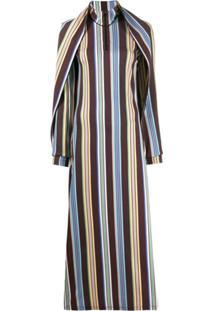 Y/Project Vestido Pelerine Listrado - Marrom