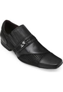 Sapato Social Couro Focal Flex Bico Quadrado Masculino - Masculino-Preto