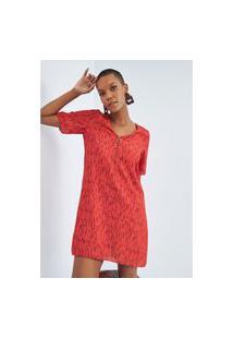 Vestido Reto Manga Curto Lança Perfume Vestido Vermelho