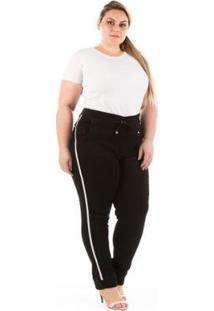 Calça Jeans Confidencial Jogger Com Faixa Lateral Plus Size Feminina - Feminino-Preto