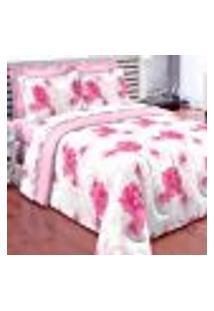 Edredom Queen Completo 7 Peças Com Lençol Tecido 100% Algodão 150 Fios - Estampado Rosa