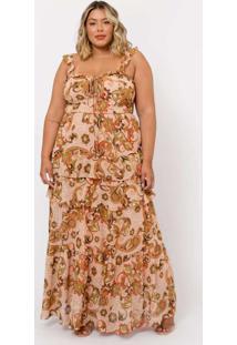 Vestido Almaria Plus Size Tal Qual Longo Chiffon R