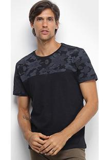 Camiseta Canal Surf Camuflada Manga Curta Masculina - Masculino-Preto