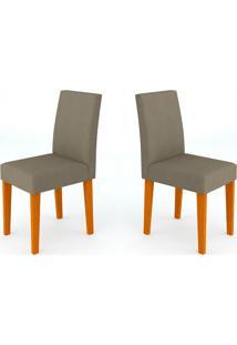 Conjunto Com 2 Cadeiras Giovana Ipê E Cinza