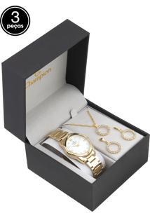 Kit 3Pçs Relógio Champion Cn25959B Dourado