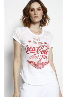 """Camiseta """"Coca-Colaâ® Since 1886"""" - Branca & Vermelhacoca-Cola"""