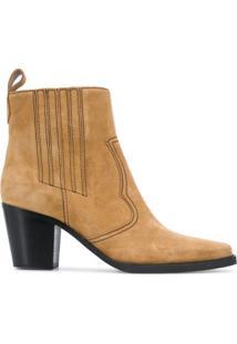 Ganni Ankle Boot De Camurça - Neutro