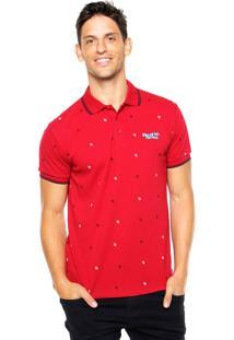 Camisa Polo Red Nose Estampada Vermelha