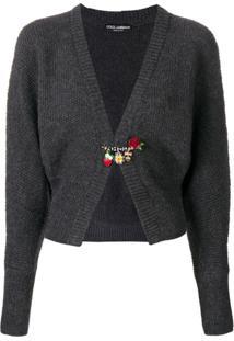 Dolce & Gabbana Cardigan Texturizado Com Aplicações - Cinza