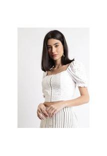Blusa De Laise Feminina Cropped Com Colchetes Manga Bufante Decote Reto Off White