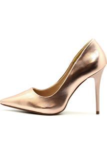 Scarpin Royalz Metalizado Salto Alto Fino Penélope Dourado