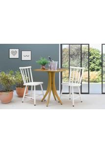 Mesa Bistrô Quadrada E 2 Cadeiras Juliette - Amêndoa E Branco