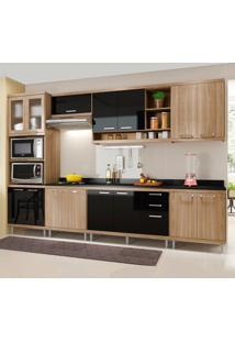 Cozinha Completa Com Tampo 15 Portas 3 Gavetas 5835 Argila/Preto - Multimóveis