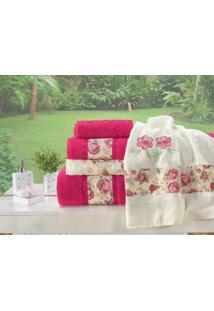 Jogo De Banho Floral Bordado Passione 05 Peças - Pink E Palha - Tricae