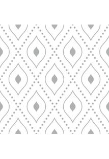 Papel De Parede Adesivo Geométrico Cinza E Branco (0,58M X 2,50M)