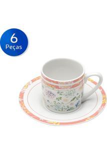 Conjunto De Xícaras Para Café Com Pires 6 Peças 90 Ml Leaves And Flowers-Bon Gourmet - Branco